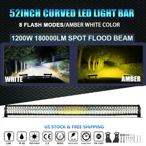 52inch 1200w Led Light Bar Curved Spot Flood 180000lm Amber White Offroad Truck