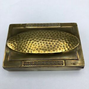 Antique Brass Stamp Box 6 Sections Hammered Top Marked Wmf 6 Secessionist Period