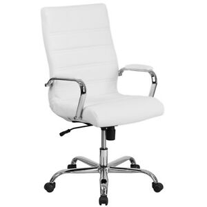 Office Chair Executive Leather Swivel High Back Adjustable Desk Seat White New