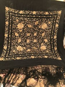 Antique Vintage Canton Embroidered Silk Spanish Piano Shawl Embroidery Heavy L10