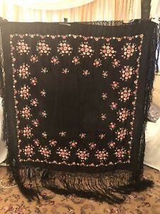 Antique Vintage Canton Embroidered Silk Spanish Piano Shawl Embroidery M 8