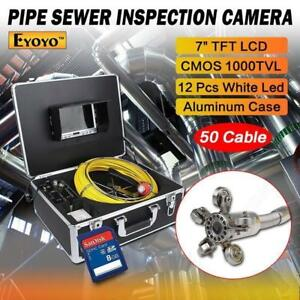 50m 164ft Sewer Camera Pipe Pipeline Drain Inspection Snake 7 Lcd 8gb Dvr