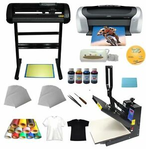 Heat Press 24 Cutter Plotter Printer Ink Paper T shirt Transfer Start up Kit