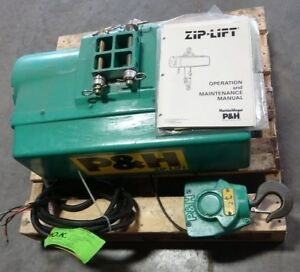 P h Harnishfeger Zip lift Ton 1000lbs 1 2 Hp Electric Wire Rope Hoist