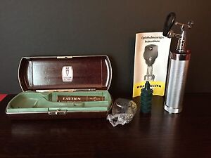Vintage Welch Allyn Otoscope Ophthalmoscope W Handle Case