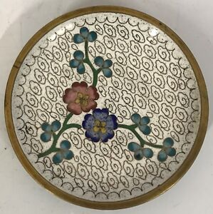 Miniature Small Chinese Bronze Cloisonne Inlaid Enamel Flower Floral Plate