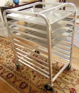 Chefjoy 10 Full Sheet Aluminium Bakery Rack With Wheels And 8 Aluminium Pans
