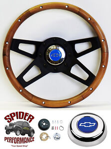 1969 1974 Nova Steering Wheel Blue Bowtie 13 1 2 Walnut 4 Spoke Black