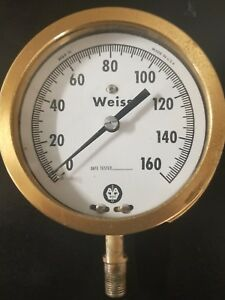 Vintage Weiss 160 Psi Brass Pressure Gauge Steam Punk Wg2 10 Heavy