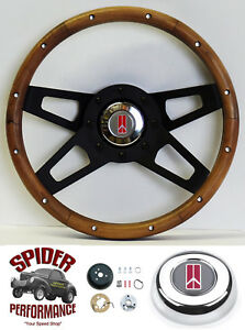 1968 Cutlass 442 F85 Steering Wheel Oldsmobile 13 1 2 Walnut 4 Spoke Black