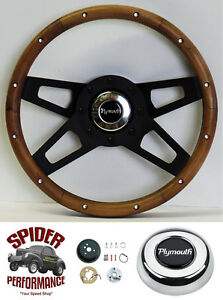 1973 1978 Satellite Duster Fury Steering Wheel 13 1 2 Walnut 4 Spoke Black