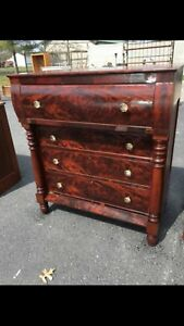 Antique Empire 4 Drawer Chest Dresser W Glass Knobs