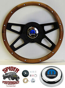 1982 1991 Dodge Pickup Steering Wheel Tilt Mopar 13 1 2 Walnut 4 Spoke Black