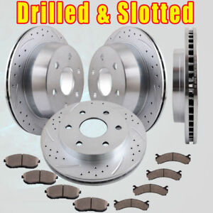 Front Rear Slot Brake Rotors And Pads For 1999 2000 Chevy Silverado 1500 Ls 4 8l