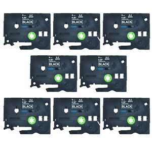 8pk Tz 325 Tze 325 White On Black Label Tape Fit For Brother P touch 3 8 9mm 8m