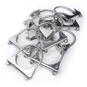 Pack Of 10 Stainless Works 2 5 304 Stainless Steel Saddle u bend Exhaust Clamps