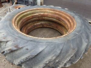 Farmall M Tractor Matching 13 6 38 Good Year Tires one Has Broken Valve Stem