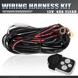 Remote Control Wiring Harness Kit Strobe Switch Relay 12V 40A For Led Light Bar