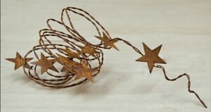 70 Rustic Wire Garland With 9 1 25 Rusty Tin Stars Primitive Home Decor