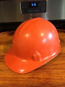 Vintage Rare Jackson Products Fiberglass Orange Hard Hat Helmet