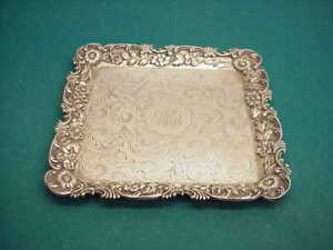 Kirk And Sons Antique Sterling Silver Flower Trim Square Tray 925 1000