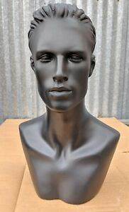 Less Than Perfect 513 b Black Male Mannequin Head Form Display With Bust