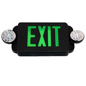 Etoplighting Led Black Exit Sign Emergency Light Combo With Battery Back up