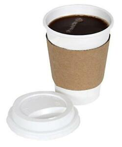 Cucinaprime 100 Pack Paper Coffee Hot Cups White With Travel Lids And Sleeves