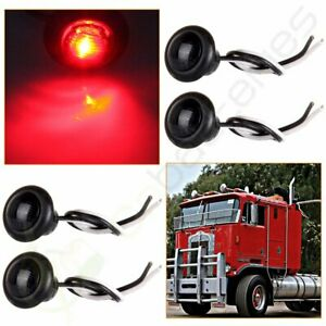 4pcs Truck Trailer 3 4 Round Red Led Clearance Marker Lights Grommet Smoke