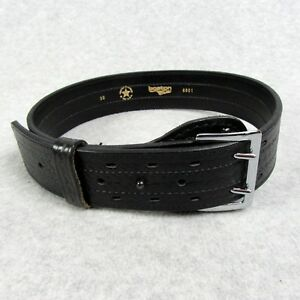 Boston Duty Belt 30 Black Basketweave Police 6601 Boston Leather Chrome