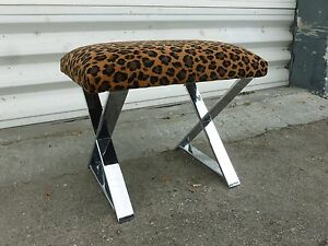 70 S Chromed Steel X Stretcher Bench With Leopard Fabric