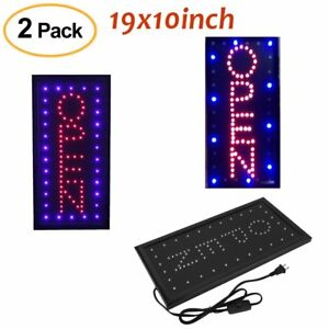 2 X Animated Motion Led Business Vertical Open Sign Switch Bright Light Neon X
