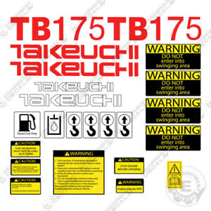 Takeuchi Tb 175 Mini Excavator Decals Equipment Decals Tb175 Tb 175 Tb175