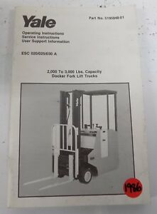 1986 Yale Lift Truck Operating Manual 5195948 01 S24a
