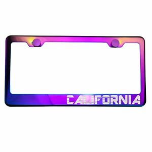 Neo Neon Chrome License Plate Frame California Laser Etched Metal Screw Cap