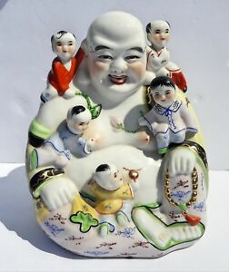 Chinese Antique Famille Rose Porcelain Large Buddha