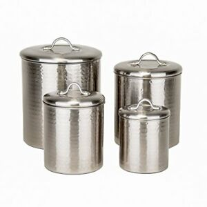 Old Dutch 4 Piece Hammered Canister Set Brushed Nickel