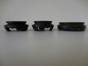 Antique Lot Of 3 Hand Carved Wooden Chinese Netske Vase Stands 1pair 1single