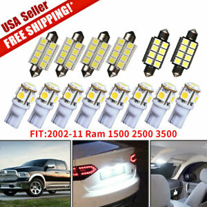 14x White Led Bulbs Interior Light Package Kit For 2002 11 Dodge Ram 1500 2500
