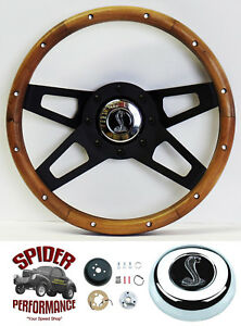1965 1969 Mustang Steering Wheel Cobra 13 1 2 Walnut 4 Spoke Black