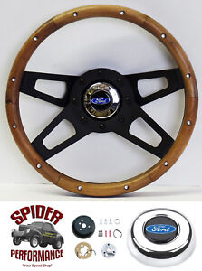 1970 1977 Ford Pickup Steering Wheel Blue Oval 13 1 2 Walnut 4 Spoke Black