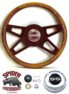 1968 Camaro Steering Wheel Ss 13 1 2 Walnut 4 Spoke Black Grant