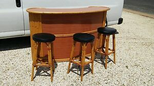 Tropical Art Deco Bamboo Bar Stools Mid Century Vintage Paul Frankl Type