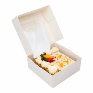 Paper Take Out Container Paper To Go Box With Window White Square 3 9