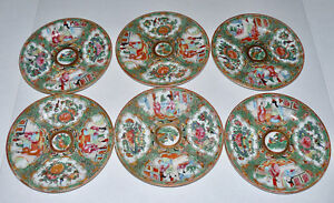 6 Antique Chinese Rose Medallion Plates 6 1 8 6 1 4 Gold Rims No Marks