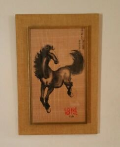 Vintage Chinese Oriental Horse Brush Watercolor Painting With Caligraphy Signed