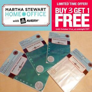 Martha Stewart Home Office Avery Secure Top Sheet Protectors Pockets Teal Clear