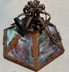 Arts Crafts Ceiling Light Fixture With Slag Glass Or Mica In Shade