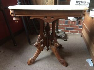 Antique Eastlake Victorian Marble Top Table