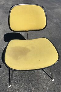Mid Century Modern Herman Miller Eames Chair Dcm Green Wool Upholstered Avocado